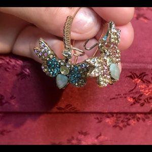 Mismatch butterfly earrings, pastel rhinestones